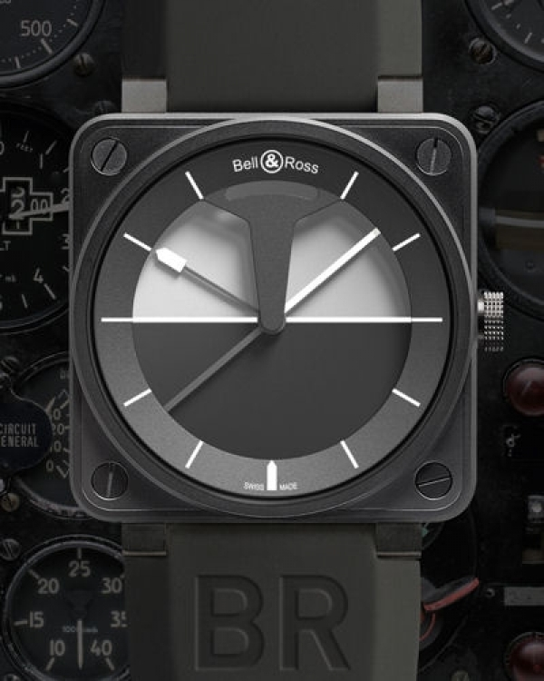 BR 01 Horizon, Bell & Ross. Inspiré des instruments d'aviation, le cadran reproduit l'horizon artifi